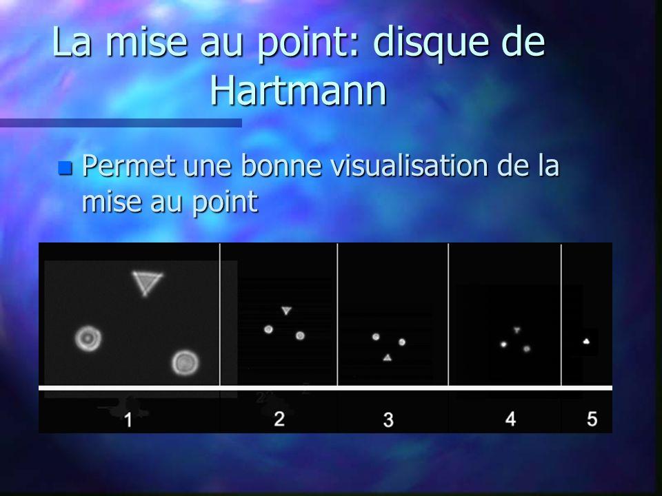 La mise au point: disque de Hartmann n Permet une bonne visualisation de la mise au point