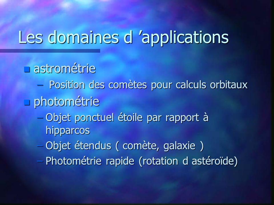 Les domaines d applications n astrométrie – Position des comètes pour calculs orbitaux n photométrie –Objet ponctuel étoile par rapport à hipparcos –O