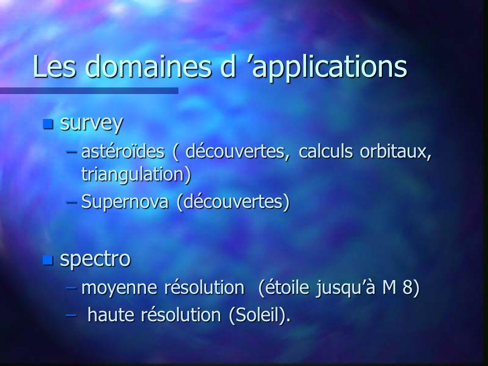 Les domaines d applications n survey –astéroïdes ( découvertes, calculs orbitaux, triangulation) –Supernova (découvertes) n spectro –moyenne résolutio