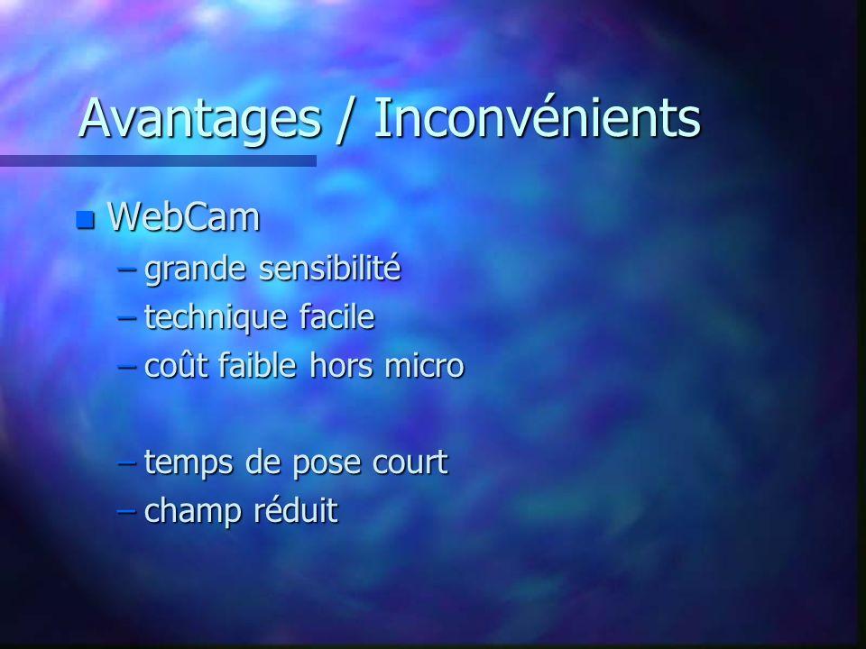 Avantages / Inconvénients n WebCam –grande sensibilité –technique facile –coût faible hors micro –temps de pose court –champ réduit