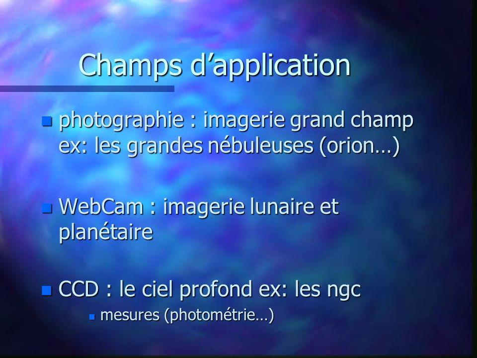 Champs dapplication n photographie : imagerie grand champ ex: les grandes nébuleuses (orion…) n WebCam : imagerie lunaire et planétaire n CCD : le cie