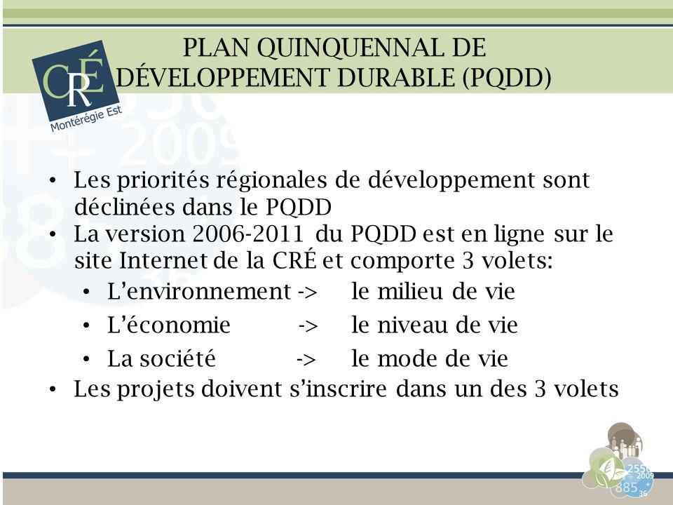 PLAN QUINQUENNAL DE DÉVELOPPEMENT DURABLE (PQDD) Les priorités régionales de développement sont déclinées dans le PQDD La version 2006-2011 du PQDD es