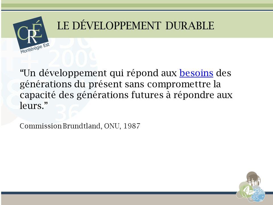 LE DÉVELOPPEMENT DURABLE Un développement qui répond aux besoins des générations du présent sans compromettre la capacité des générations futures à ré