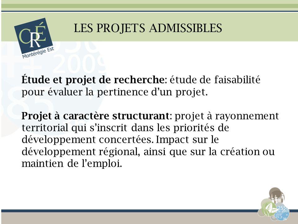 LES PROJETS ADMISSIBLES Étude et projet de recherche: étude de faisabilité pour évaluer la pertinence dun projet. Projet à caractère structurant: proj