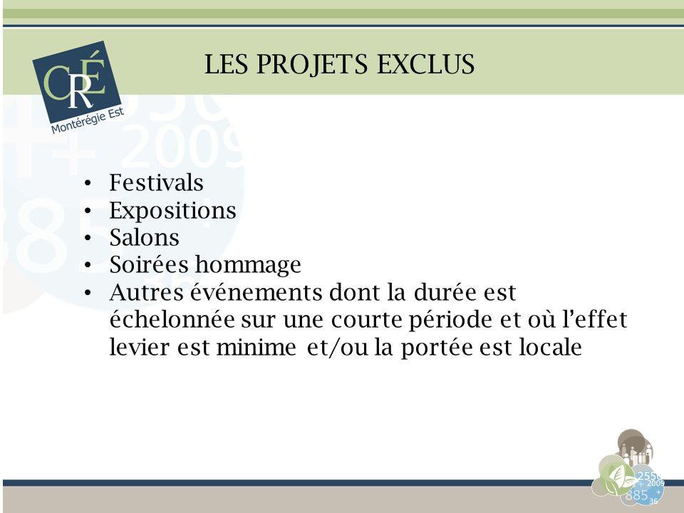LES PROJETS EXCLUS Festivals Expositions Salons Soirées hommage Autres événements dont la durée est échelonnée sur une courte période et où leffet lev