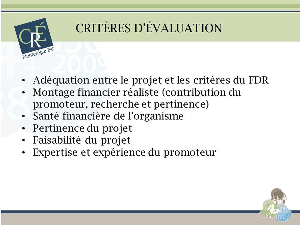 CRITÈRES DÉVALUATION Adéquation entre le projet et les critères du FDR Montage financier réaliste (contribution du promoteur, recherche et pertinence)