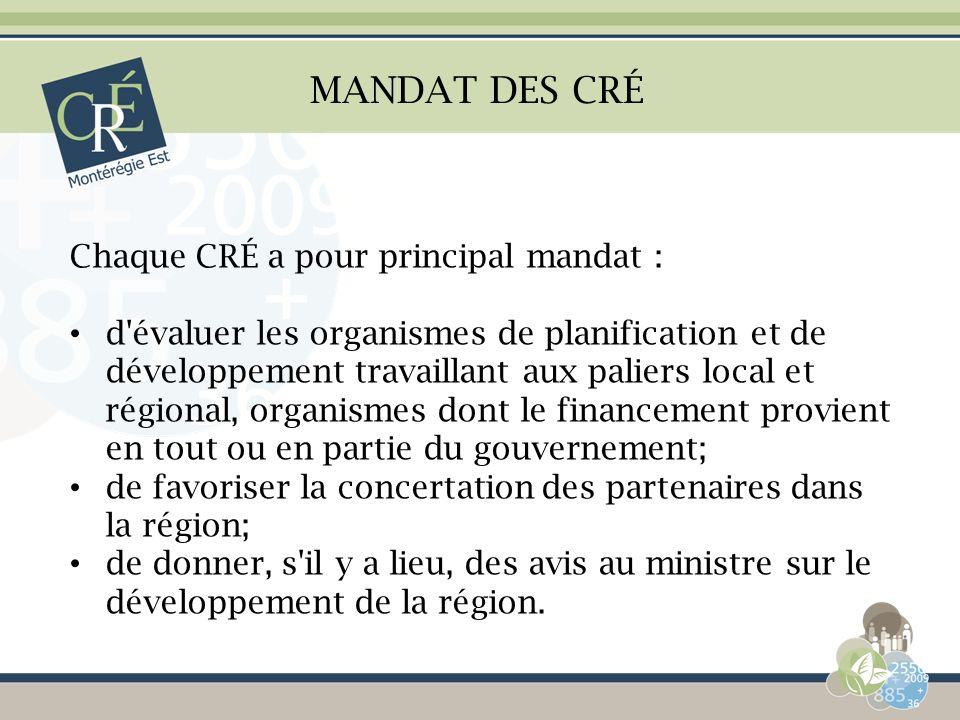 MANDAT DES CRÉ Chaque CRÉ a pour principal mandat : d'évaluer les organismes de planification et de développement travaillant aux paliers local et rég