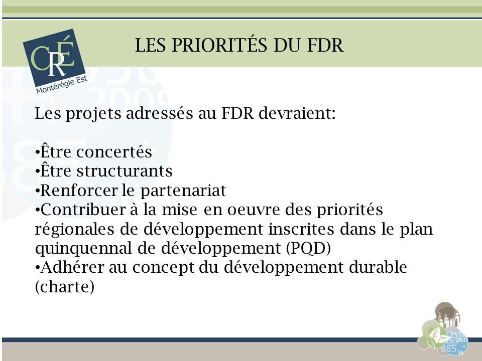 LES PRIORITÉS DU FDR Les projets adressés au FDR devraient: Être concertés Être structurants Renforcer le partenariat Contribuer à la mise en oeuvre d
