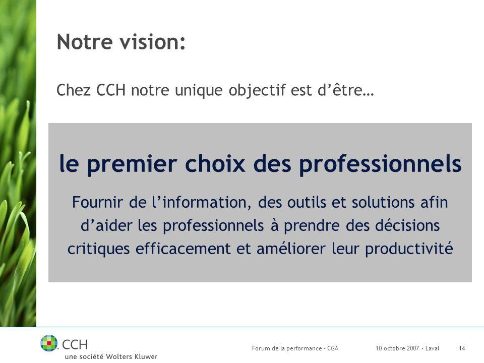 10 octobre 2007 - LavalForum de la performance - CGA14 le premier choix des professionnels Fournir de linformation, des outils et solutions afin daider les professionnels à prendre des décisions critiques efficacement et améliorer leur productivité Notre vision: Chez CCH notre unique objectif est dêtre…