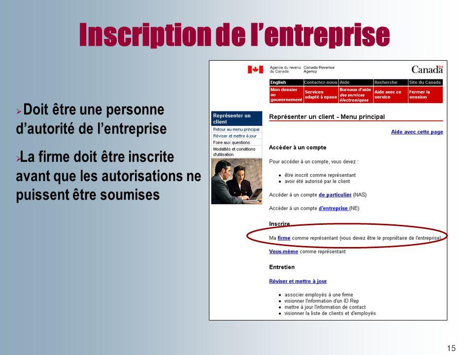 Inscription de lentreprise 15 Doit être une personne dautorité de lentreprise La firme doit être inscrite avant que les autorisations ne puissent être