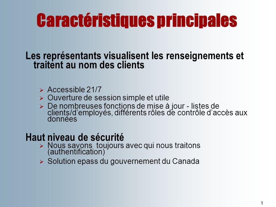 Caractéristiques principales 11 Les représentants visualisent les renseignements et traitent au nom des clients Accessible 21/7 Ouverture de session s