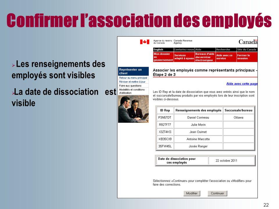 Confirmer lassociation des employés 22 Les renseignements des employés sont visibles La date de dissociation est visible