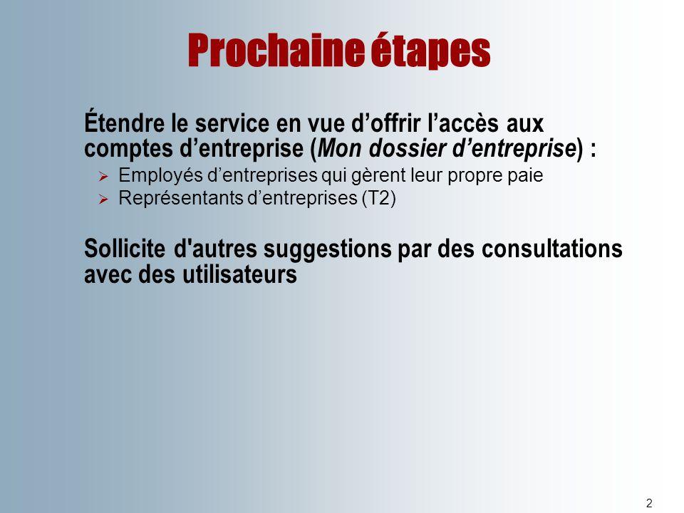Prochaine étapes 2 Étendre le service en vue doffrir laccès aux comptes dentreprise ( Mon dossier dentreprise ) : Employés dentreprises qui gèrent leu