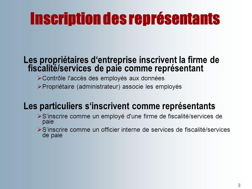 Inscription des représentants 3 Les propriétaires dentreprise inscrivent la firme de fiscalité/services de paie comme représentant Contrôle l'accès de