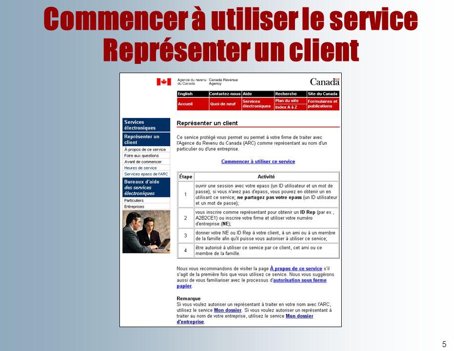 Commencer à utiliser le service Représenter un client 5