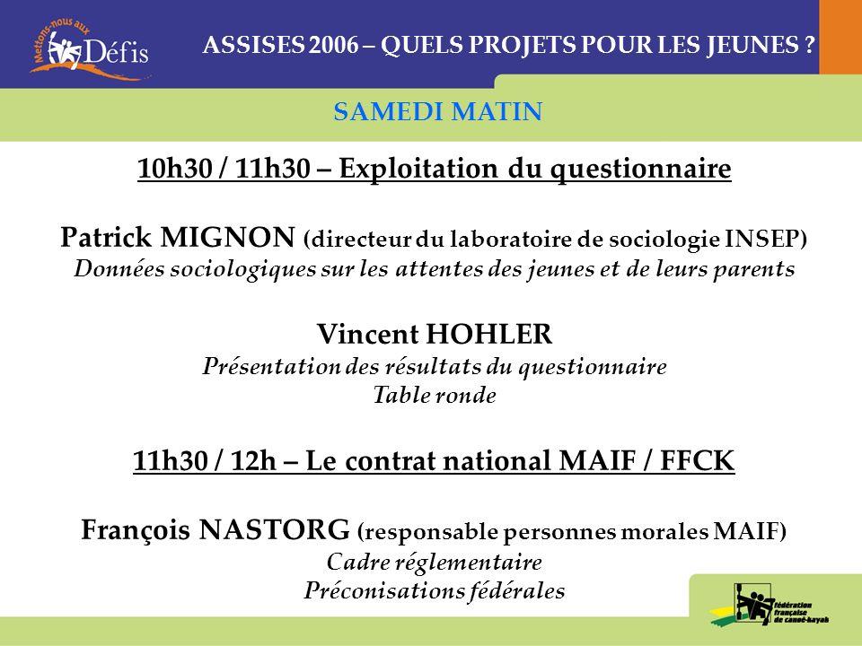 ASSISES 2006 – QUELS PROJETS POUR LES JEUNES .