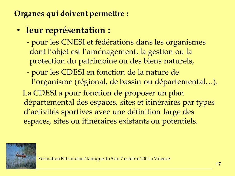 17 Organes qui doivent permettre : leur représentation : - pour les CNESI et fédérations dans les organismes dont lobjet est laménagement, la gestion