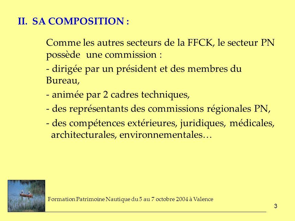 3 II. SA COMPOSITION : Comme les autres secteurs de la FFCK, le secteur PN possède une commission : - dirigée par un président et des membres du Burea