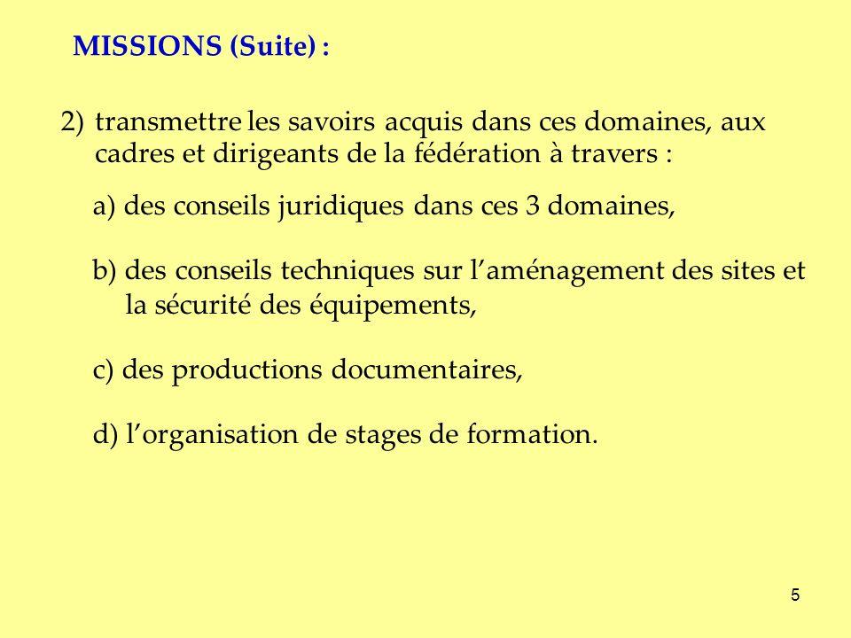 5 2)transmettre les savoirs acquis dans ces domaines, aux cadres et dirigeants de la fédération à travers : a) des conseils juridiques dans ces 3 doma
