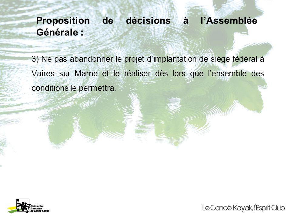 Proposition de décisions à lAssemblée Générale : 3) Ne pas abandonner le projet dimplantation de siège fédéral à Vaires sur Marne et le réaliser dès lors que lensemble des conditions le permettra.