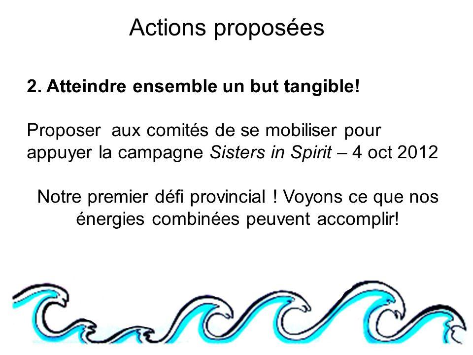 Actions proposées 2.Atteindre ensemble un but tangible.