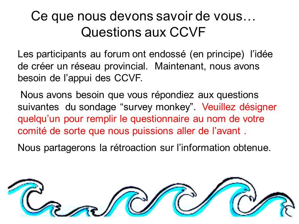 Ce que nous devons savoir de vous… Questions aux CCVF Les participants au forum ont endossé (en principe) lidée de créer un réseau provincial.