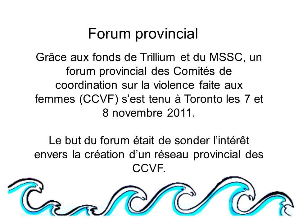 Forum provincial Grâce aux fonds de Trillium et du MSSC, un forum provincial des Comités de coordination sur la violence faite aux femmes (CCVF) sest tenu à Toronto les 7 et 8 novembre 2011.