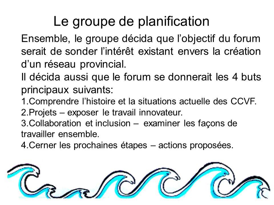 Le groupe de planification Ensemble, le groupe décida que lobjectif du forum serait de sonder lintérêt existant envers la création dun réseau provincial.