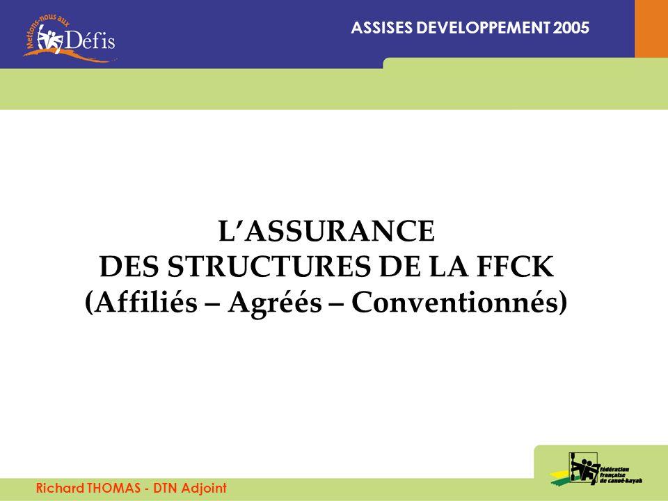 LASSURANCE DES STRUCTURES DE LA FFCK (Affiliés – Agréés – Conventionnés) ASSISES DEVELOPPEMENT 2005 Richard THOMAS - DTN Adjoint