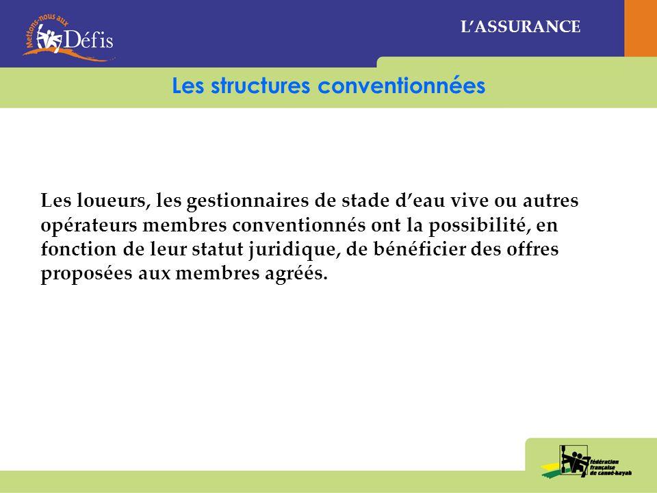 Les structures conventionnées LASSURANCE Les loueurs, les gestionnaires de stade deau vive ou autres opérateurs membres conventionnés ont la possibilité, en fonction de leur statut juridique, de bénéficier des offres proposées aux membres agréés.