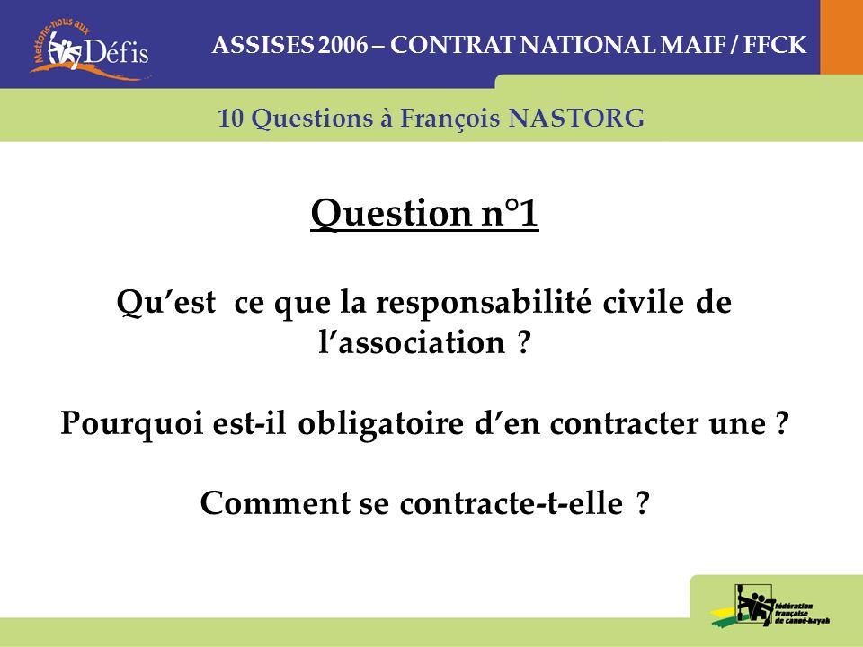 10 Questions à François NASTORG Question n°1 Quest ce que la responsabilité civile de lassociation .