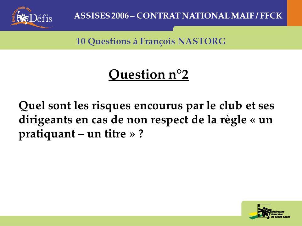 10 Questions à François NASTORG Question n°2 Quel sont les risques encourus par le club et ses dirigeants en cas de non respect de la règle « un pratiquant – un titre » .