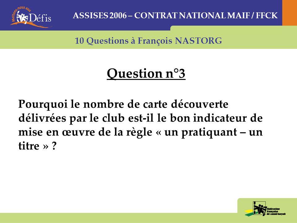 10 Questions à François NASTORG Question n°3 Pourquoi le nombre de carte découverte délivrées par le club est-il le bon indicateur de mise en œuvre de la règle « un pratiquant – un titre » .
