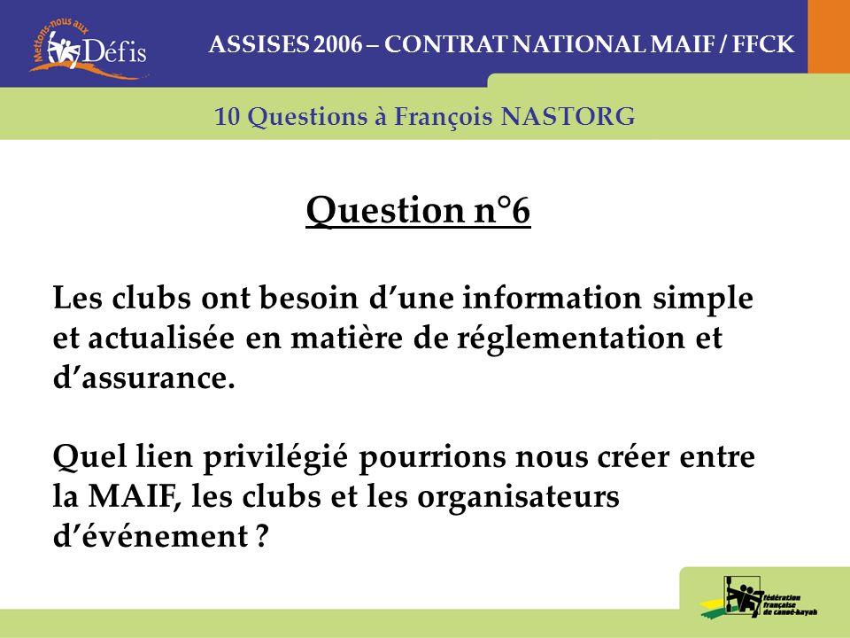 10 Questions à François NASTORG Question n°6 Les clubs ont besoin dune information simple et actualisée en matière de réglementation et dassurance.