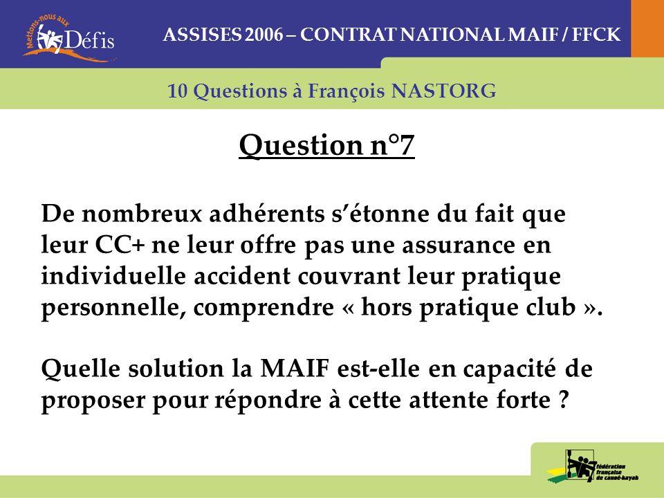 10 Questions à François NASTORG Question n°7 De nombreux adhérents sétonne du fait que leur CC+ ne leur offre pas une assurance en individuelle accident couvrant leur pratique personnelle, comprendre « hors pratique club ».