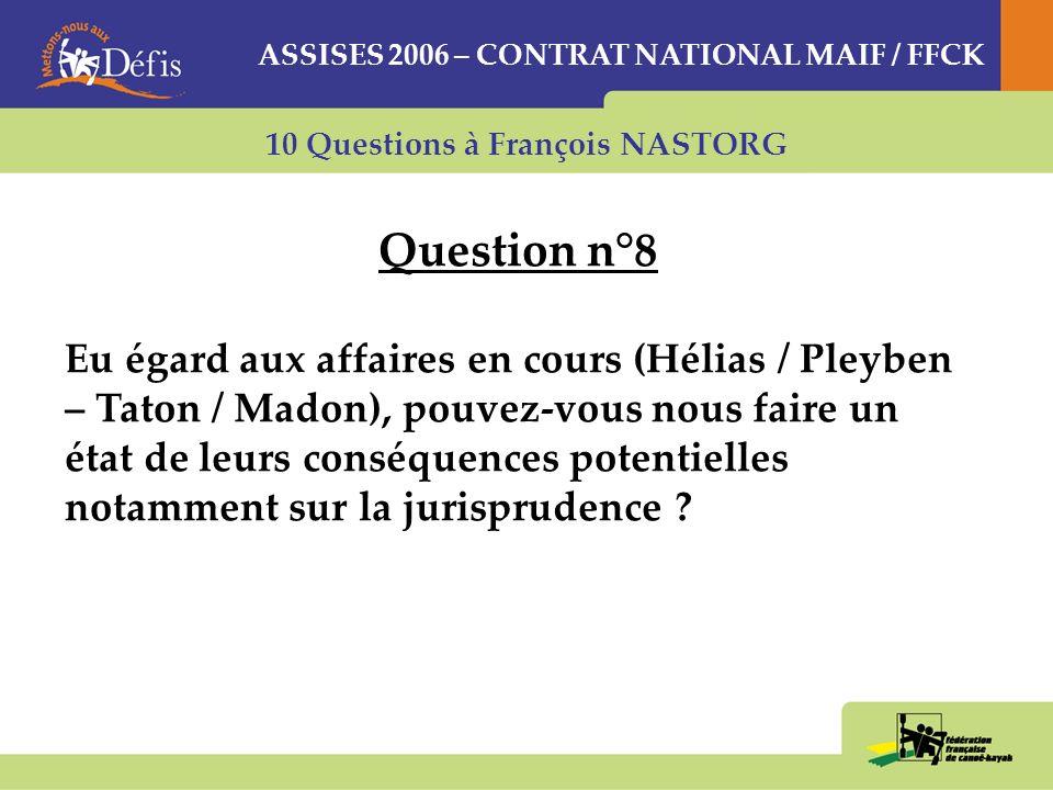 10 Questions à François NASTORG Question n°8 Eu égard aux affaires en cours (Hélias / Pleyben – Taton / Madon), pouvez-vous nous faire un état de leurs conséquences potentielles notamment sur la jurisprudence .