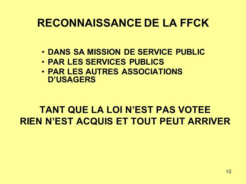 10 RECONNAISSANCE DE LA FFCK DANS SA MISSION DE SERVICE PUBLIC PAR LES SERVICES PUBLICS PAR LES AUTRES ASSOCIATIONS DUSAGERS TANT QUE LA LOI NEST PAS VOTEE RIEN NEST ACQUIS ET TOUT PEUT ARRIVER