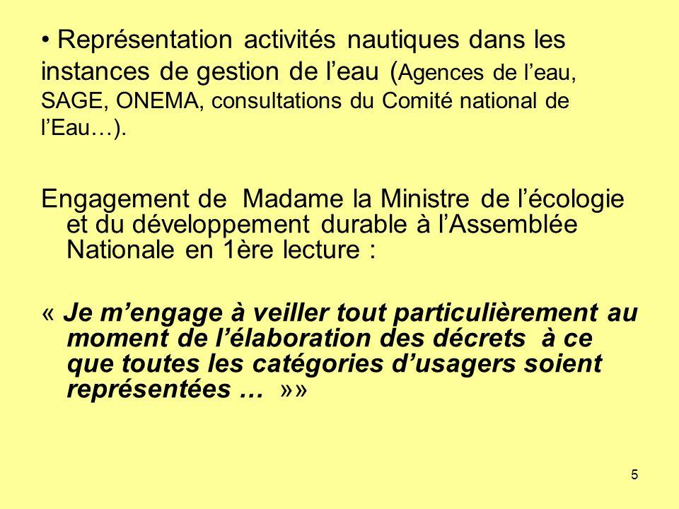 5 Représentation activités nautiques dans les instances de gestion de leau ( Agences de leau, SAGE, ONEMA, consultations du Comité national de lEau…).