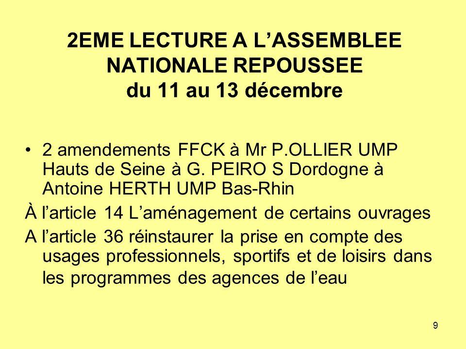 9 2EME LECTURE A LASSEMBLEE NATIONALE REPOUSSEE du 11 au 13 décembre 2 amendements FFCK à Mr P.OLLIER UMP Hauts de Seine à G.