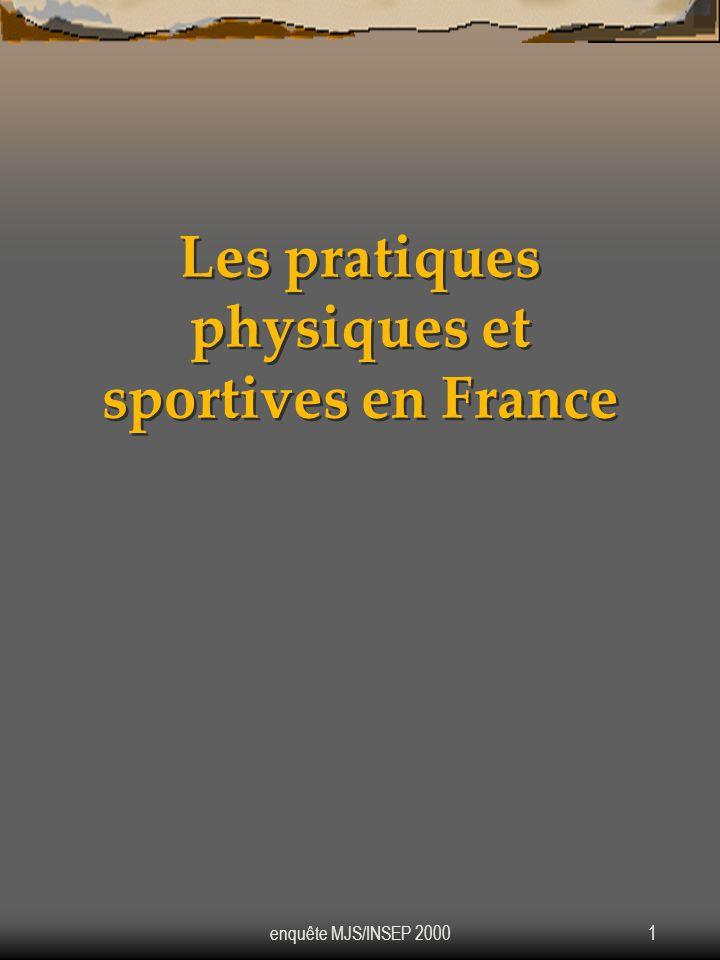 enquête MJS/INSEP 20001 Les pratiques physiques et sportives en France