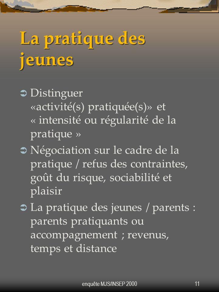 enquête MJS/INSEP 200011 La pratique des jeunes Distinguer «activité(s) pratiquée(s)» et « intensité ou régularité de la pratique » Négociation sur le