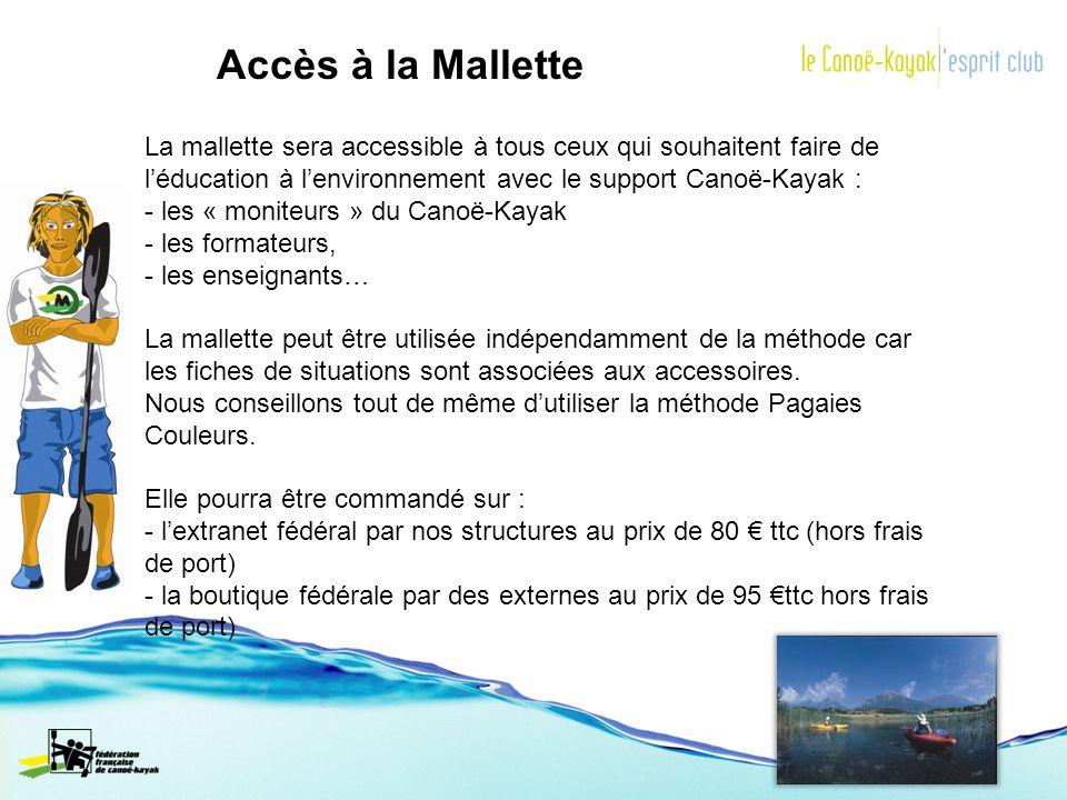 Accès à la Mallette La mallette sera accessible à tous ceux qui souhaitent faire de léducation à lenvironnement avec le support Canoë-Kayak : - les «