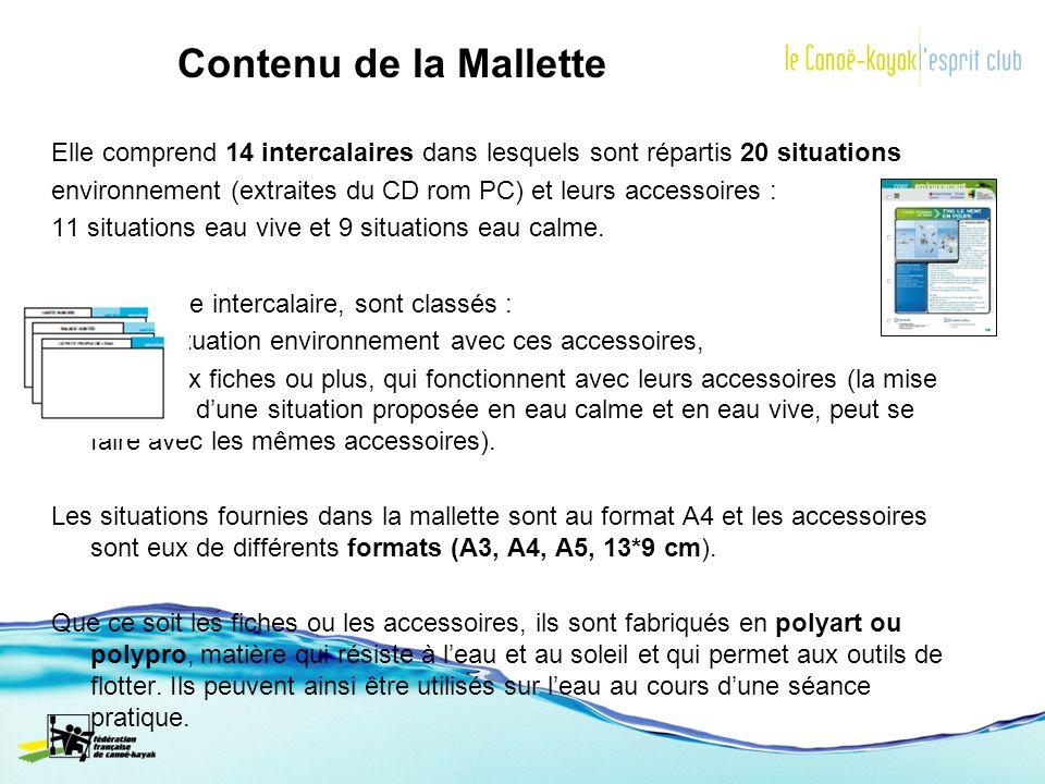 Contenu de la Mallette Elle comprend 14 intercalaires dans lesquels sont répartis 20 situations environnement (extraites du CD rom PC) et leurs access