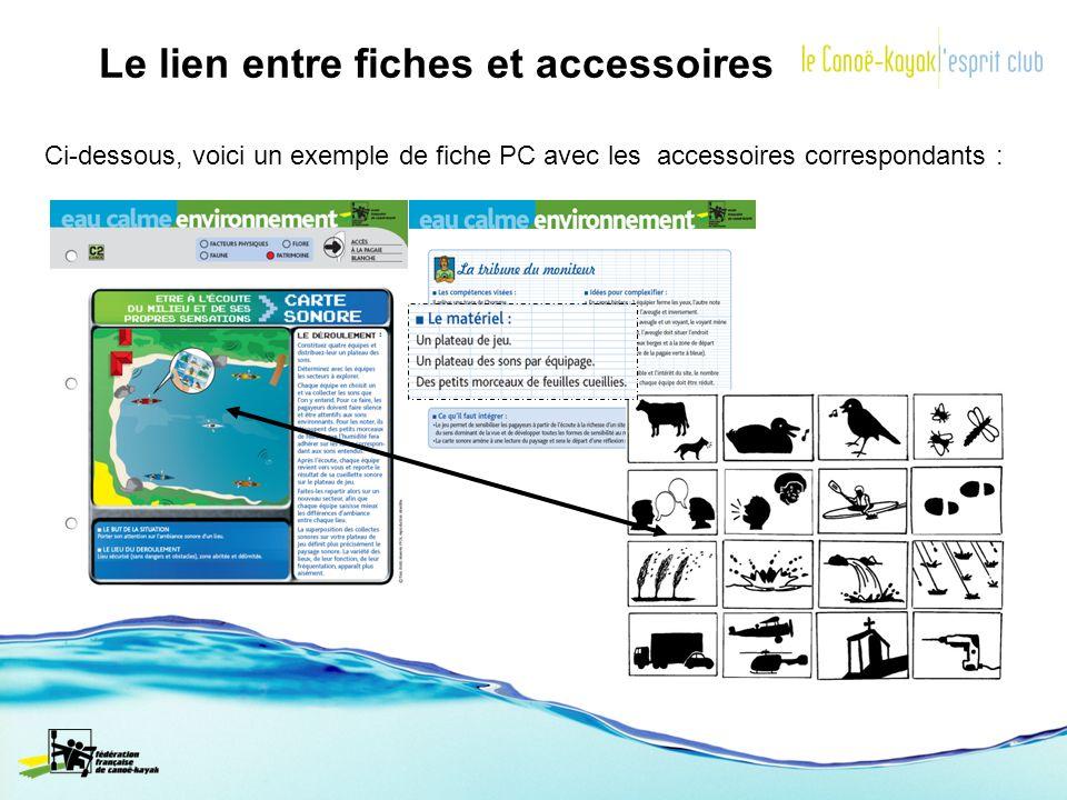 Le lien entre fiches et accessoires Ci-dessous, voici un exemple de fiche PC avec les accessoires correspondants :