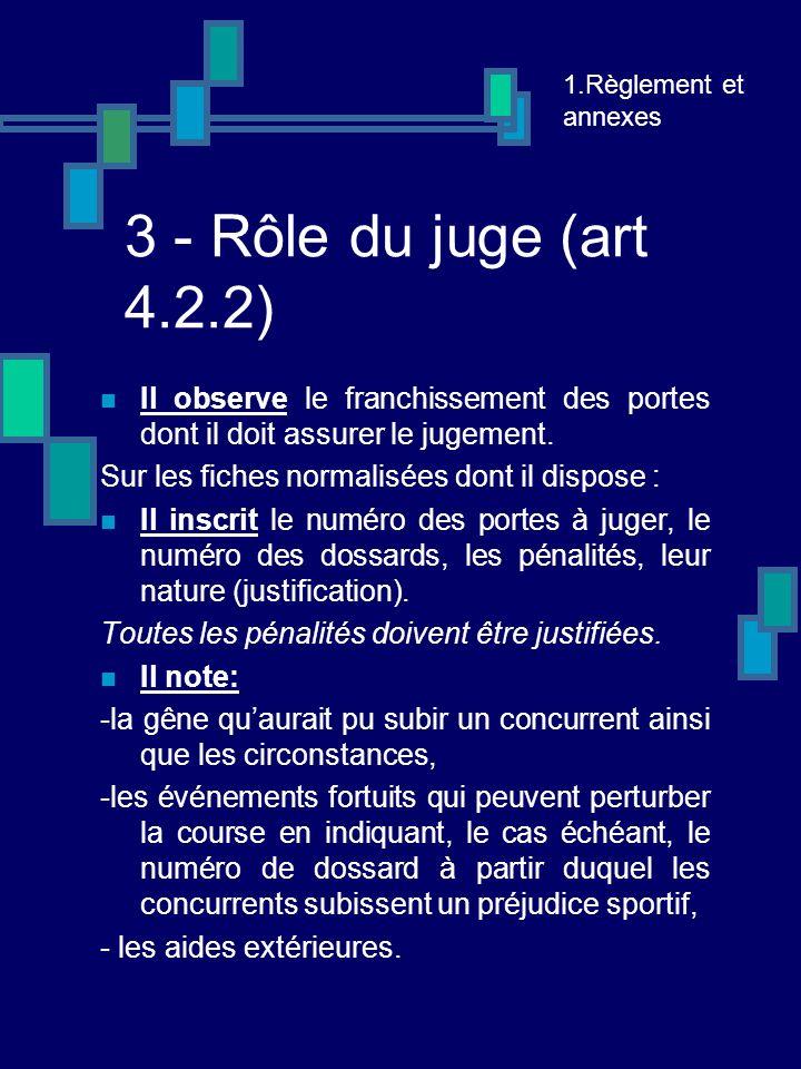3 - Rôle du juge (art 4.2.2) Il observe le franchissement des portes dont il doit assurer le jugement.