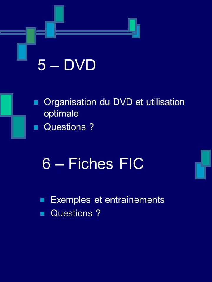 5 – DVD Organisation du DVD et utilisation optimale Questions .