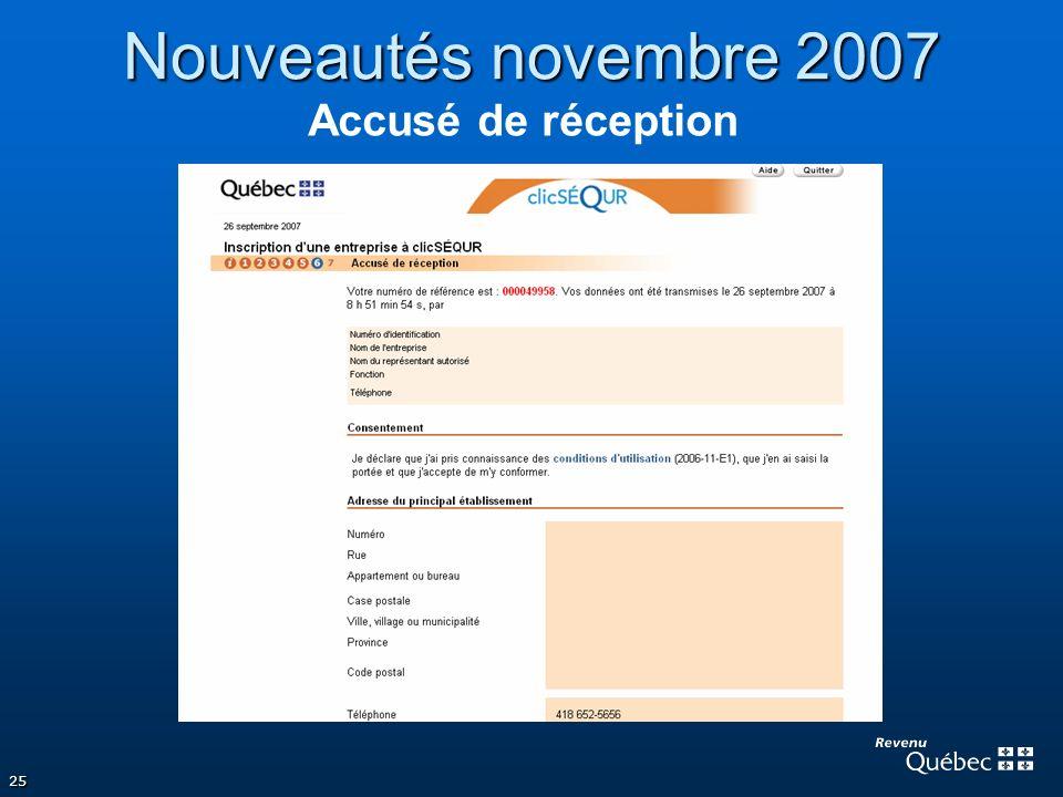 25 Nouveautés novembre 2007 Accusé de réception