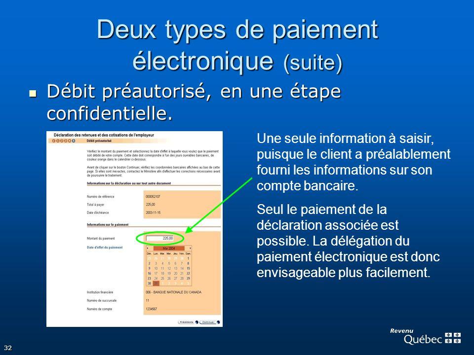 32 Deux types de paiement électronique (suite) Débit préautorisé, en une étape confidentielle. Débit préautorisé, en une étape confidentielle. Une seu