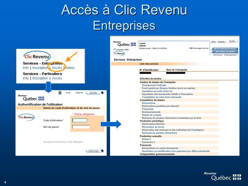 4 Accès à Clic Revenu Entreprises