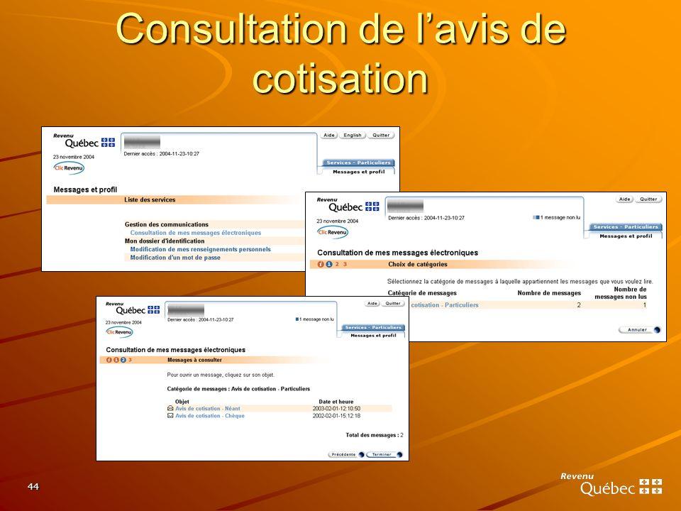44 Consultation de lavis de cotisation